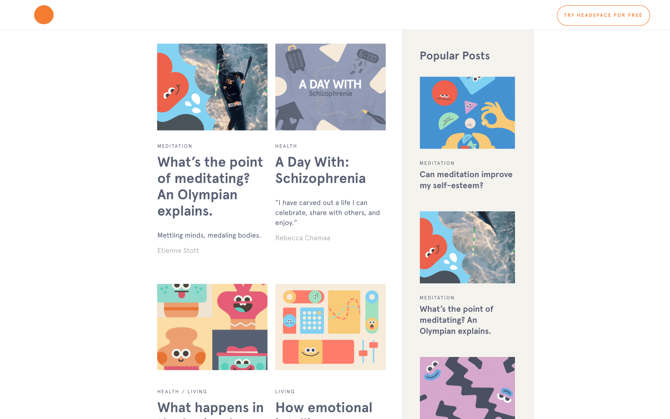 Headspace homepage