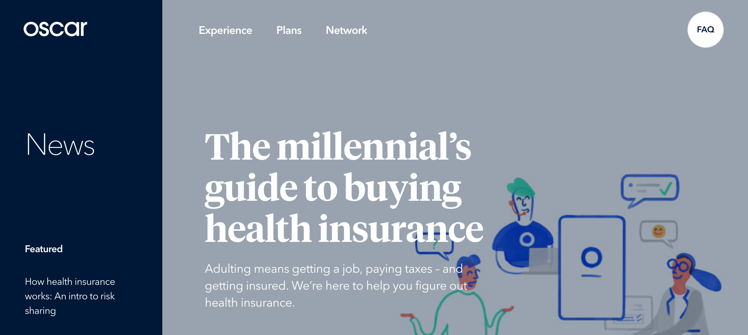 Oscar illustration of millennial's guide to buying insurance
