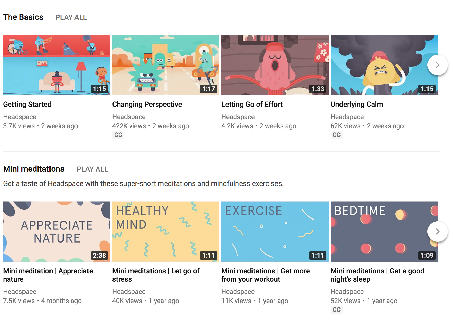 Headspace video library