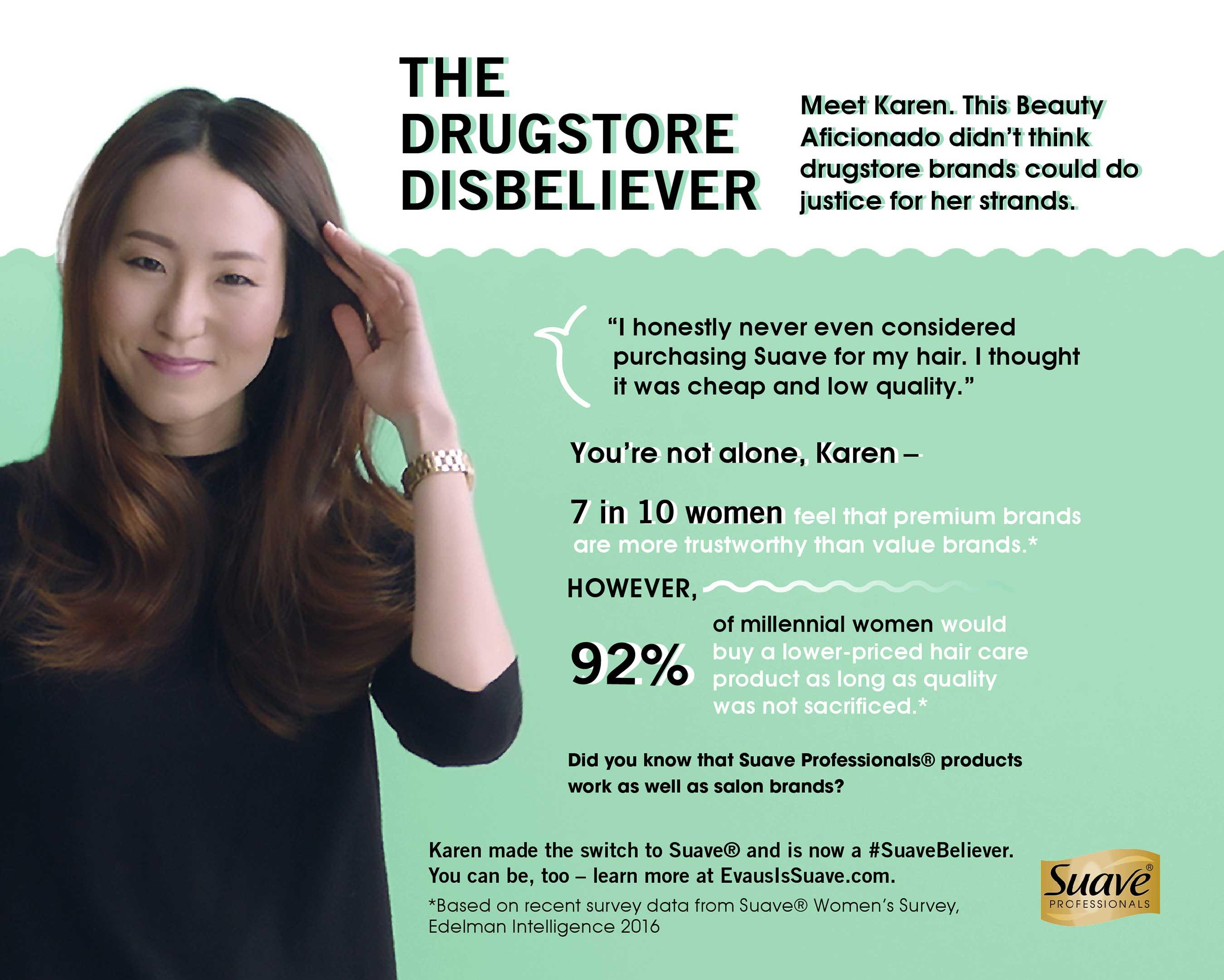 Suave's Drugstore Disbeliever Ad